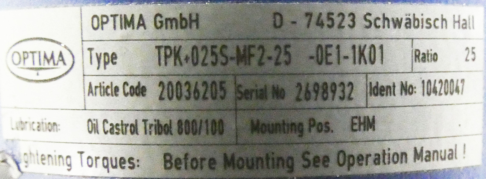 OPTIMA  TPK+025S-MF2-25-0E1-1K01 A.Code : 2006205  Getriebe -used-